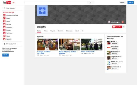 Screenshot of YouTube Page youtube.com - plainsfm  - YouTube - captured Oct. 23, 2014