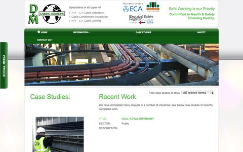 Screenshot of Case Studies Page dandmcables.co.uk - Case Studies | D&M Cabling Solutions - captured Oct. 3, 2014