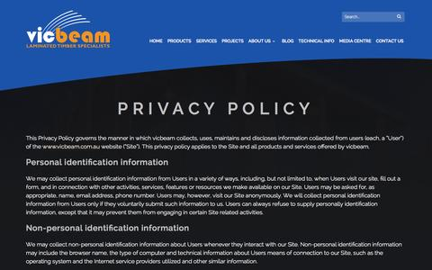 Screenshot of Privacy Page vicbeam.com.au - Privacy Policy - vicbeam™ - captured Oct. 29, 2014
