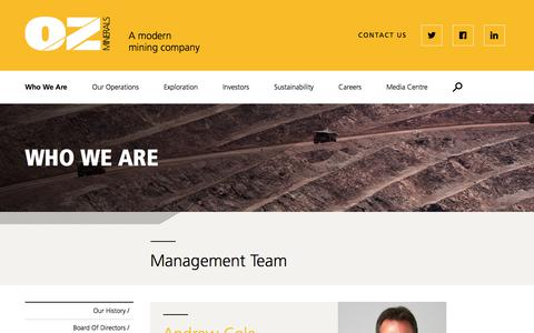 Screenshot of Team Page ozminerals.com - Management Team | OZ Minerals - captured Sept. 21, 2018