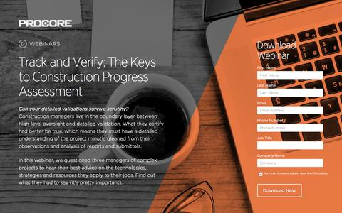 Screenshot of Landing Page procore.com - Track and Verify: The Keys to Construction Progress Assessment - captured Nov. 18, 2016