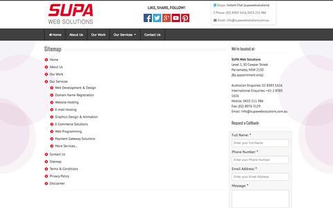 Screenshot of Site Map Page supawebsolutions.com.au - Sitemap : SUPA Web Solutions - Sydney, Parramatta Website Development - captured Sept. 30, 2014