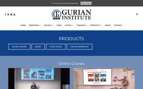 Screenshot of Products Page gurianinstitute.com - Products - GURIAN INSTITUTE - captured Oct. 20, 2018