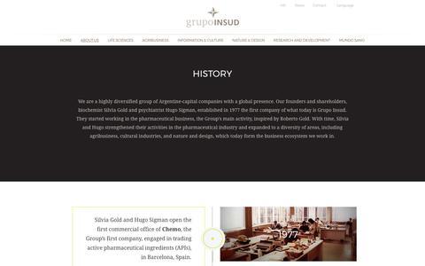 Screenshot of About Page grupoinsud.com - About Us - Grupo Insud - captured Nov. 5, 2018
