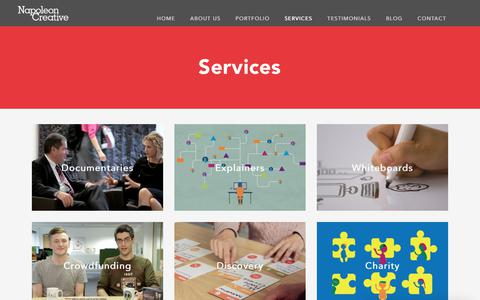 Screenshot of Services Page napoleoncreative.com - Video Production and Animation N1 - captured Nov. 15, 2017