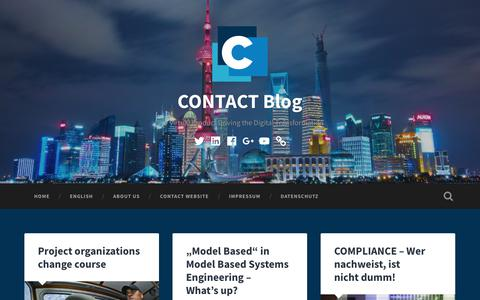 Screenshot of Blog contact-software.com - CONTACT Blog – The Virtual Product Driving the Digital Transformation - captured Sept. 25, 2018