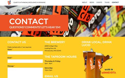 Screenshot of Contact Page lucidbrewing.com - Contact Lucid - captured Sept. 30, 2014