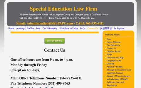 Screenshot of Contact Page selfapc.com - Contact Us - Special Education Law Firm - captured Oct. 6, 2014