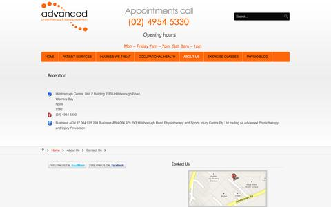 Screenshot of Contact Page newcastle-physiotherapy.com.au - Contact Us - Newcastle physiotherapy services Warners Bay - captured Oct. 4, 2014