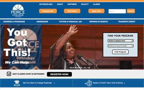 Screenshot of Home Page peirce.edu - Peirce College for Working Adults | On-Campus & Online Programs - captured July 21, 2019