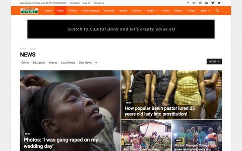 Screenshot of Press Page adomonline.com - News Archives - AdomOnline.com - captured June 30, 2017