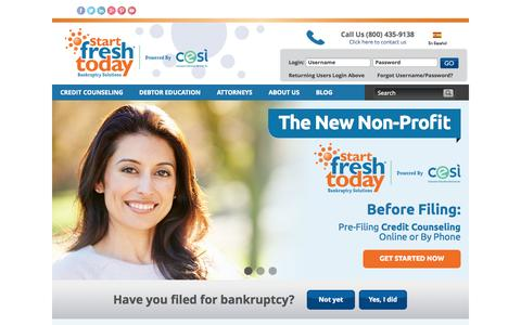 Screenshot of Home Page startfreshtoday.com - Bankruptcy Credit Counseling and Debtor Education | Start Fresh Today - captured Aug. 4, 2015