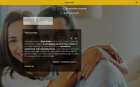 Screenshot of Testimonials Page gdpatton.com - Testimonials - Gayle D Patton Solicitors - captured Jan. 26, 2016