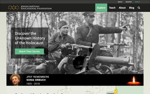 Screenshot of Login Page jewishpartisans.org - JPEF Home Page | Jewish Partisan Educational Foundation - captured Oct. 13, 2018