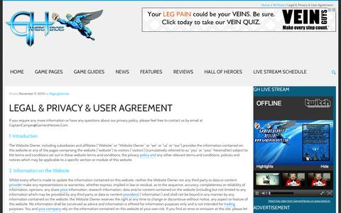 Screenshot of Privacy Page gamersheroes.com - Legal & Privacy & User Agreement - GamersHeroes - captured Sept. 23, 2014