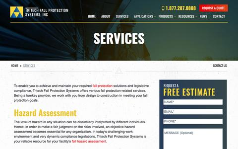 Screenshot of Services Page tritechfallprotection.com - Fall Protection Services | Tritech Fall Protection Systems - captured Dec. 26, 2016
