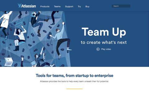 Screenshot of Home Page atlassian.com - Software Development and Collaboration Tools | Atlassian - captured April 30, 2016