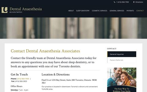 Screenshot of Contact Page Maps & Directions Page torontosleepdentistry.com - Contact Toronto Dentists | Dental Anaesthesia Associates - captured July 9, 2018