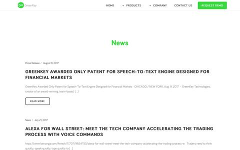 Screenshot of Press Page greenkeytech.com - News - GreenKey Technologies - captured Sept. 20, 2017