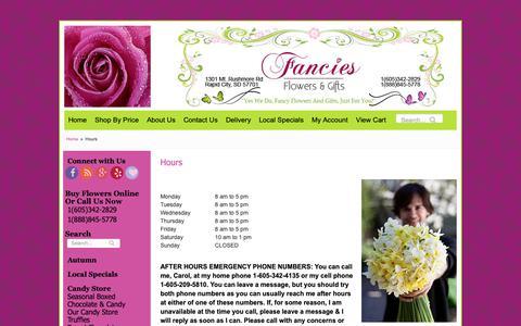 Screenshot of Hours Page fanciesflowers.com - Hours | Flower Shop & Florist in Rapid City SD | Fancies Flowers - captured Oct. 31, 2018