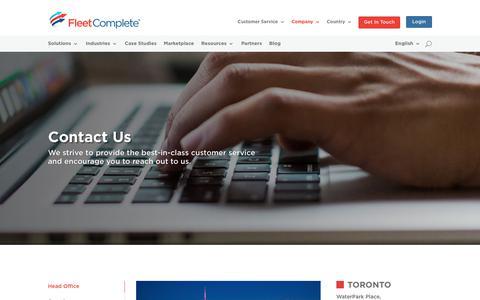 Screenshot of Contact Page fleetcomplete.com - Contact Us For Support | Fleet Complete - captured Nov. 8, 2018
