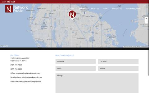 Screenshot of Contact Page networkpeople.com - Contact Us | Network People | Clearwater, Florida - captured Nov. 8, 2017