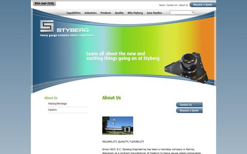 Screenshot of About Page styberg.com - About Us | E.C. Styberg Engineering Co., Inc. - captured Oct. 1, 2014