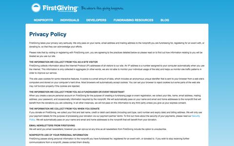 Screenshot of Privacy Page firstgiving.com - Privacy Policy - FirstGiving - captured June 6, 2017