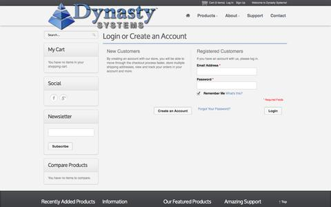 Screenshot of Login Page dynastysystems.com - Dynasty Systems - captured Sept. 30, 2014