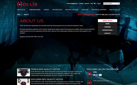Screenshot of About Page hollis.com - About Us - captured Sept. 24, 2014