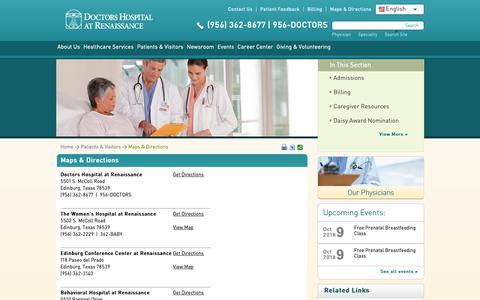 Screenshot of Maps & Directions Page dhr-rgv.com - Maps & Directions | Doctors Hospital at Renaissance - captured Oct. 9, 2018