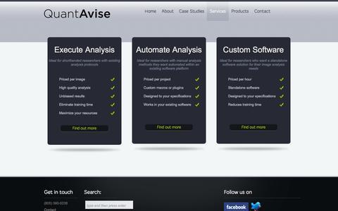 Screenshot of Services Page quantavise.com - Image Analysis Services provided by Quantavise - captured Sept. 26, 2014