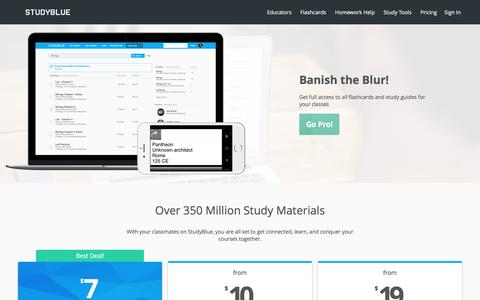 Screenshot of Pricing Page studyblue.com - StudyBlue Pro Pricing | StudyBlue - captured April 28, 2017