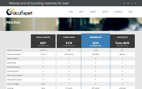 Screenshot of Pricing Page calculexpert.com - Pricing - CalculExpertCalculExpert - captured Jan. 24, 2016