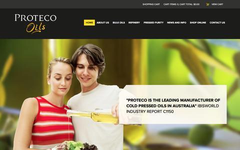 Screenshot of Home Page proteco.com.au - The Finest Cold Pressed and Bulk Oils - Proteco Oils - captured Feb. 2, 2016