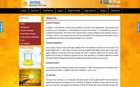Screenshot of About Page ritikasystems.in - Ritika Systems  - Solar Company In India | Solar Products - captured Feb. 17, 2016