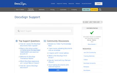 Screenshot of Support Page docusign.com - Support | DocuSign - captured July 20, 2014