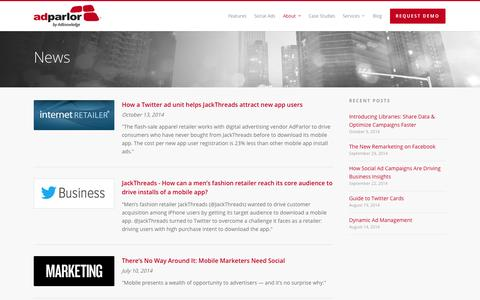 Screenshot of Press Page adparlor.com - News |  AdParlor - captured Nov. 2, 2014
