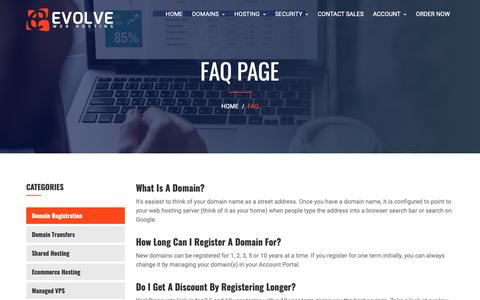 Screenshot of FAQ Page evolvewebhost.com - Evolve Web Hosting | Frequently Asked Service Questions - captured Nov. 9, 2018