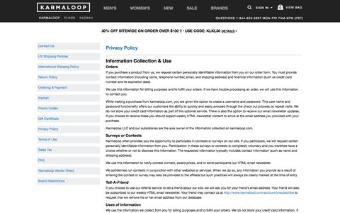 Privacy Policy -  Karmaloop.com