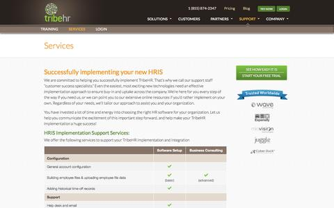 Screenshot of Services Page tribehr.com - TribeHR HRIS Implementation Services | HRMS With Low Fees - captured Sept. 17, 2014