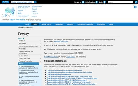 Screenshot of Privacy Page ahpra.gov.au - Australian Health Practitioner Regulation Agency - Privacy - captured Sept. 24, 2014