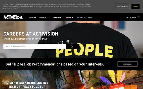 Screenshot of Jobs Page activision.com - Careers at Activision | Activision job opportunities - captured Sept. 7, 2019
