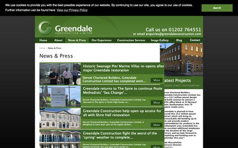 Screenshot of Press Page greendaleconstruction.com - Greendale Construction  - News & Press - captured Sept. 30, 2018