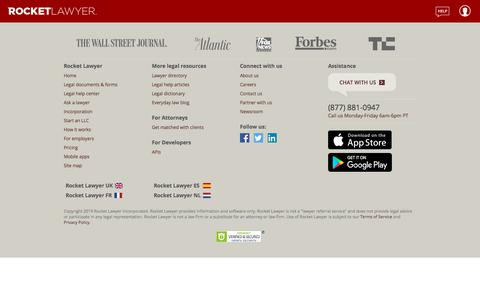 Screenshot of Signup Page Login Page rocketlawyer.com - Login and registration - captured Nov. 8, 2019