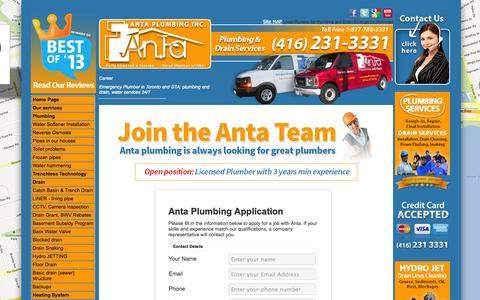 Screenshot of Jobs Page antaplumbing.com - Careers - Anta Plumbing, 24/7 Toronto Plumbers - captured Oct. 4, 2014