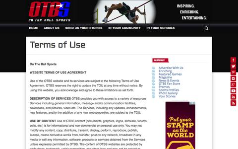 Screenshot of Terms Page otbsonline.com - Terms of Use – On The Ball Sports - captured Dec. 2, 2016