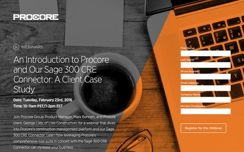 Screenshot of Landing Page procore.com - An Introduction to Procore and Our Sage 300 CRE Connector: A Client Case Study - captured Feb. 15, 2016