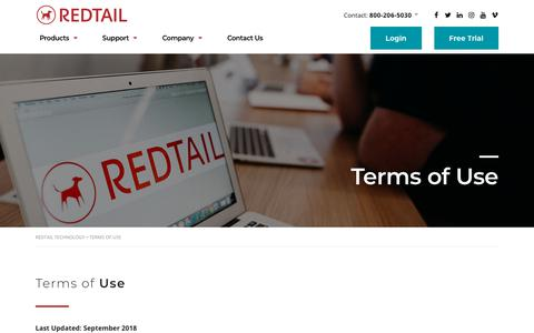 Screenshot of Terms Page redtailtechnology.com - Terms of Use - Redtail Technology - captured Jan. 5, 2020