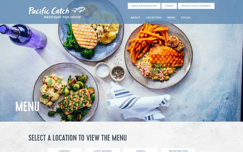 Screenshot of Menu Page pacificcatch.com - Menu | Pacific Catch - captured Oct. 11, 2018
